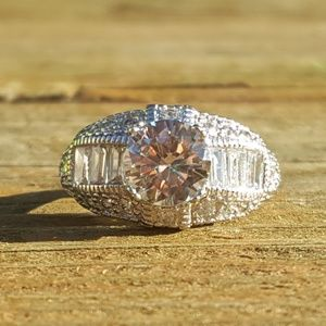 Sterling Silver White Gold Filled CZ Ring